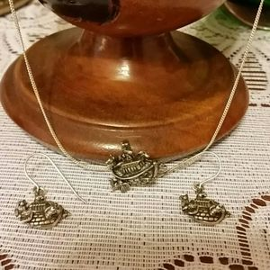 Sterling Noah's Ark Necklace and Earrings